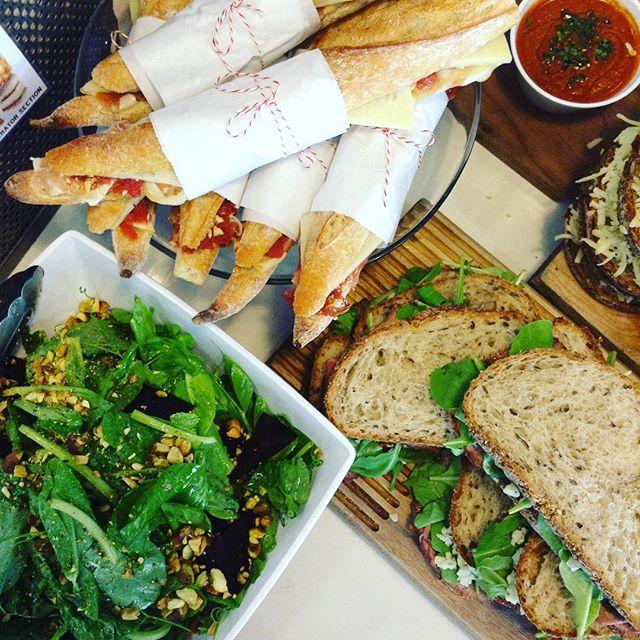 04/20/2017 #milkfarmlunch 1) JAMON SERRANO: idiazabal, cara cara quince jam, & Marcona almonds on ficelle 2) ROAST BEEF MELT: red onion marmalade, blue cheese, black garlic aioli, & spring mix on multigrain 3) ULTIMATE VEGGIE: roasted tomato, eggplant, fennel, bell pepper, zucchini, shallots, corn, fresh basil, aioli, spring mix, smoked mozzarella, & holey cow on ciabatta SIDE #1: carrot- tomato bisque SIDE #2: beet salad w/ pea tendrils & toasted pistachio 4) MILKFARM GRILLED CHEESE 5) MILKFARM MAC AND CHEESE