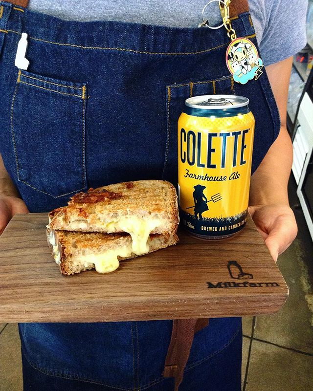 HAPPY NATIONAL GRILLED CHEESE DAY!! To celebrate, we're celebrating with $5 GRILLED CHEESE if you're eating here, plus $3 cans of beer! Still hungry? We also have more #milkfarmlunch options: 1) JAMON SERRANO: marionberry jalapeño jam, campo del montalban, & olive oil on ficelle 2) RACLETTE MELT: potatoes, cornichons, Dijon, aioli, Laundraschiken, herbs, & shallots on multigrain 3) ROAST BEEF: horseradish aioli, pickled red onions, herbs, baby kale, watermelon radish, & Hook's 2 year cheddar on multigrain 4) PIG PAPA TORTA: black beans, pork loin, white onion, tomato, iceberg lettuce, avocado, garlic aioli, black pepper, cilantro, pickled jalapeños, & cotija on ciabatta 5) GRILLED CHEESE!!! 6) MAC & CHEESE