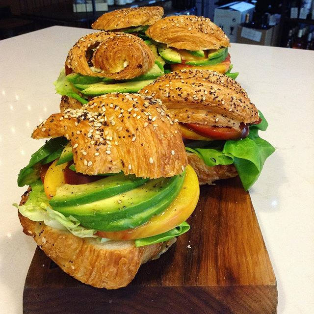 05/16/2017 #milkfarmlunch 1) ROASTED TURKEY MELT: sundried tomato fennel relish, garlic aioli, & raclette on multigrain 2) GENOA SALAMI: heirloom tomato, roasted zucchini, smoked mozzarella, creamy pesto, & baby kale on ciabatta 3) THE CROISSANTWICH: Classic aioli, heirloom tomato, butterleaf, & avocado on a ham & cheese croissant 4) MILKFARM GRILLED CHEESE