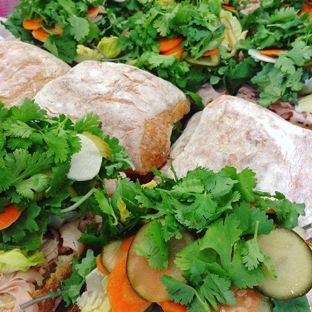 8/14/17 #milkfarmlunch • TURKEY BANH MI: Thai chili aioli, banh mi pickles, cilantro, greens, pantaleo cheese, & truffle mousse • TOASTED CAPRESE: fresh mozzarella, basil walnut pesto, & fresh tomato on ficelle • JAMON SERRANO: greens, Spanish tomato jam, extra virgin olive oil, & manchego on ficelle • SIGNATURE GRILLED CHEESE