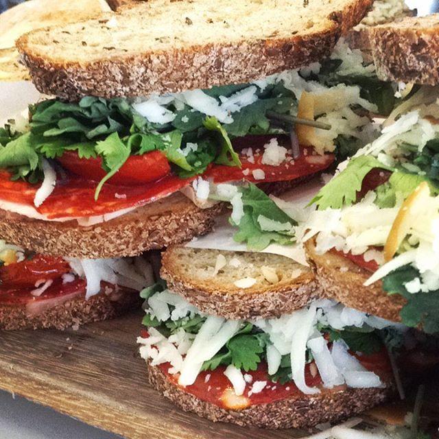 9/12/17 #milkfarmlunch • ITALIAN BLT: pancetta, butter leaf lettuce, heirloom tomato, avocado, basil, & fresh mozzarella on ciabatta • CHORIZO MELT: pork loin, chorizo soria, aioli, greens, cilantro, cabra romero, & smoked mozzarella on multigrain • MUFFALETTA: muffaletta mix (olive salad from Louisiana), mortadella, salami rosa, butter leaf lettuce, aioli, & fresh mozzarella on ciabatta • SIGNATURE GRILLED CHEESE • SIGNATURE MAC & CHEESE
