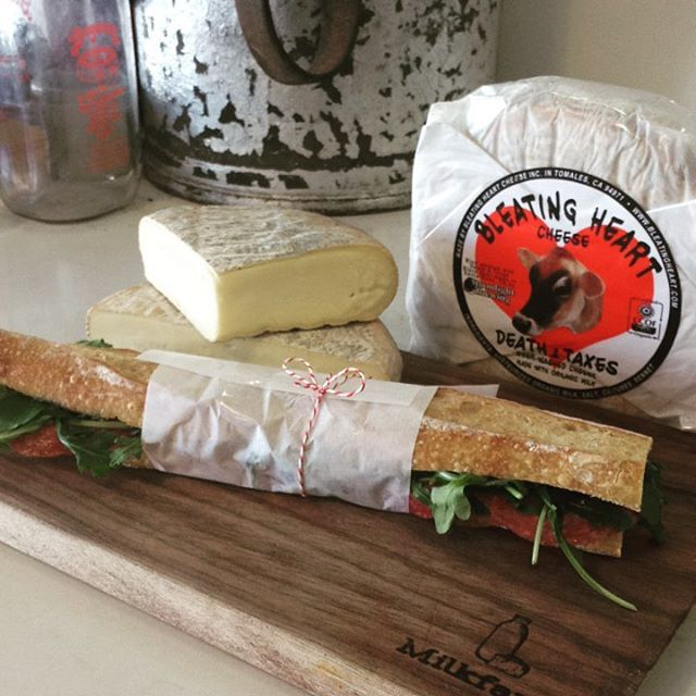 Happy #americancheesemonth We are proud to be partnered with @bleating_heart and showcasing their Death & Taxes Cheese in everything this month...including our sandwiches! #milkfarmlunch 1)Death & Taxes, wine cured salami, arugula, cracked pepper, olive oil on ficelle 2)Chipotle White Bean, oven roasted tomatoes, idiazabal cheese, arugula, olive oil on ficelle 3)turkey, sundried tomato fennel relish, smoked mozzarella and fontina, roasted garlic aioli on ciabatta 4)salami cotto, heirloom tomatoes, herbed ricotta, walnut Marcona almond pesto toasted on ciabatta 5)grilled cheese 6) Mac and cheese