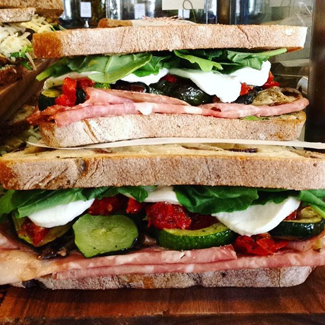 11/10/2017 #milkfarmlunch 1) JAMON SERRANO: idiazabal, quince thyme jam, Marcona almonds, & EVOO on ficelle 2) SALAMI: roasted eggplant & zucchini, sundried tomatoes, aioli, fresh herbs, greens, & Holey Cow OR fresh mozzarella on olive bread 3) MUSHROOM MELT: 4 types of roasted mushrooms, black garlic aioli, greens, fresh herbs, Fontina, & smoked mozzarella 4) CHORIZO PAMPLONA: fried tomato sauce, pickled red onions, smoked pork loin, cilantro, butterleaf, pickled peppers, Idiazabal, & aioli on ciabatta 5) MILKFARM GRILLED CHEESE 6) MILKFARM MAC AND CHEESE