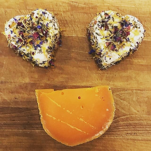 Put a smile on your Valentine's face with our selection of heart shaped cheeses! ? 2/11/18 #milkfarmlunch • VEGGIE: avocado, cucumber, fresh spinach, provolone cheese, sundried tomato, oven roasted tomato, lemon artichoke tapenade, house made pesto, & aioli on olive bread • MORTADELLA: pepperoncini, butter leaf lettuce, herb aioli, Hook's 2 year cheddar, & Dijon on ciabatta • MUFFALETTA: Louisiana olive salad, fresh mozzarella, arugula, & aioli on ciabatta • FRENCH HAM: fromage de meaux, beurremont butter, & cracked pepper on ficelle • SIGNATURE GRILLED CHEESE • QUICHE LORRAINE