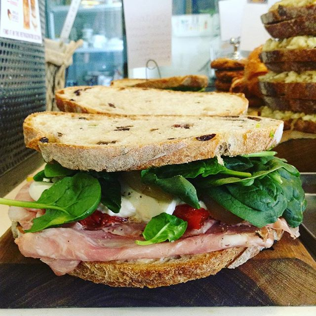 03/15/2018 #milkfarmlunch 1) FRENCH HAM: double creme Brie, herbed butter, & cracked black pepper on ficelle 2) VEGGIE MELT: roasted shallots, eggplant, tomato, asparagus, olive tapenade, kale pesto, & fresh mozzarella on ciabatta 3) PORK LOIN MELT: sundried tomato fennel relish, roasted garlic aioli, smoked mozzarella, & fontina on multigrain 4) SALAMI ROSA: oven roasted tomatoes, shallots, baby spinach, kale pesto, & fresh mozzarella on olive bread 5) MILKFARM GRILLED CHEESE 6)  (cookies can be lunch, too)